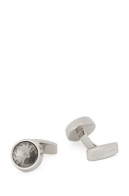 Hugo Boss - Round Cufflinks With Multi Faceted Glass Insert - Light Grey