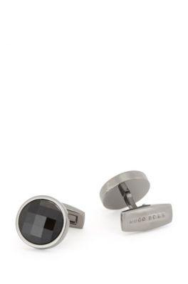 Hugo Boss - Round Cufflinks With Multi Faceted Glass Insert - Black