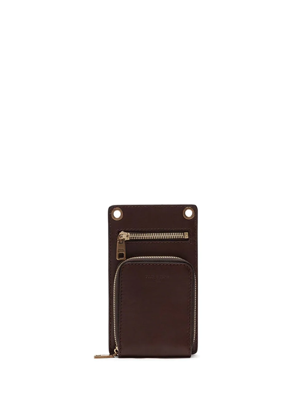 Dolce & Gabbana Leather Phone Bag In Brown