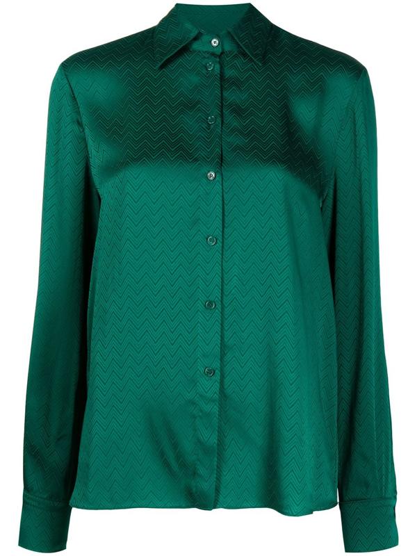 Pinko Zigzag-print Satin Shirt In Green