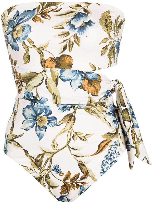 Zimmermann Women's Aliane Scarf Tie Floral Bandeau One-piece Swimsuit In Mehrfarbig