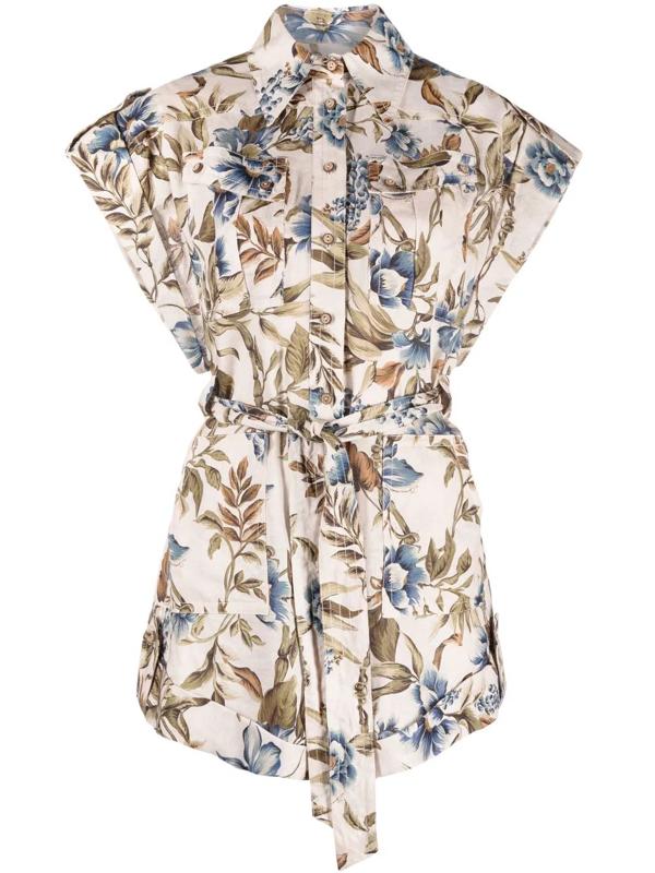 Zimmermann 'aliane' Floral Print Waist Tie Detail Playsuit In Nude