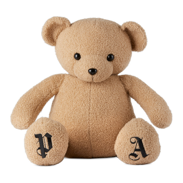 Palm Angels Logo-embroidered Bear In Brown Black