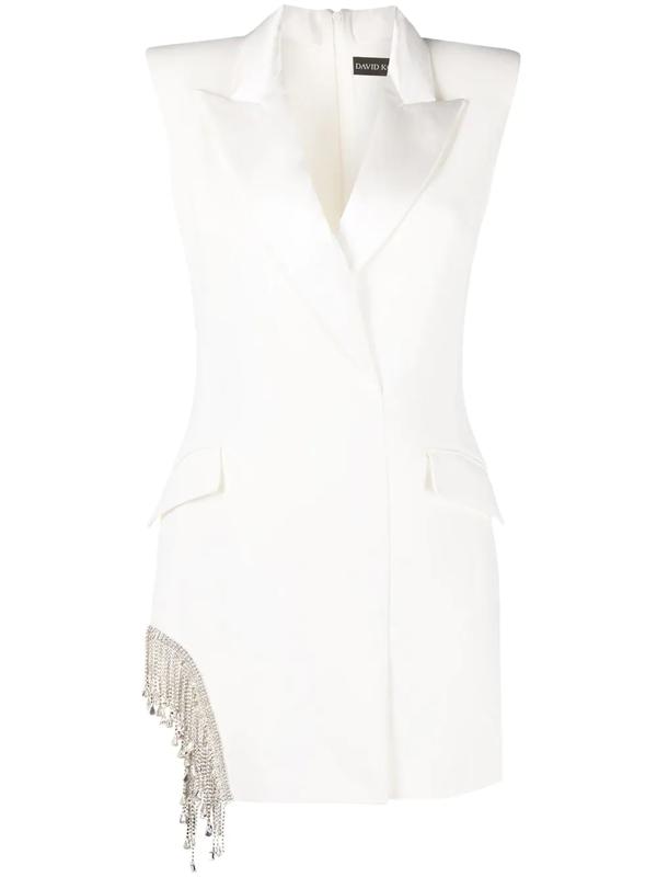 David Koma Fitted Blazer Dress In White