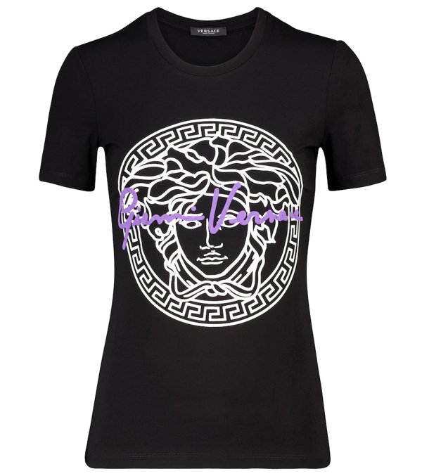 Versace Jersey T-shirt With Medusa Print In Black