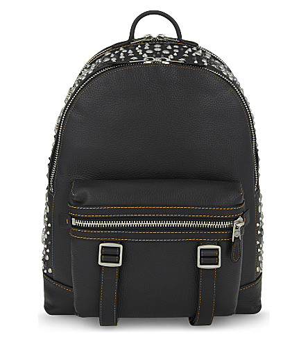Coach Flag Leather Backpack In Black