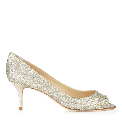 Jimmy Choo Isabel Champagne Glitter Fabric Peep Toe Pumps In Gold