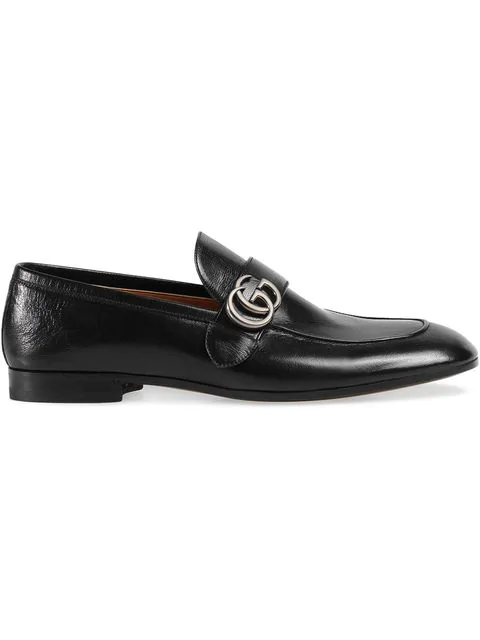 Gucci Black Leather Loafer With 'Gg' Buckle