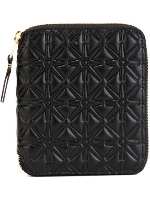 Comme Des GarÇons Clover Embossed Zip Fold Wallet In Black