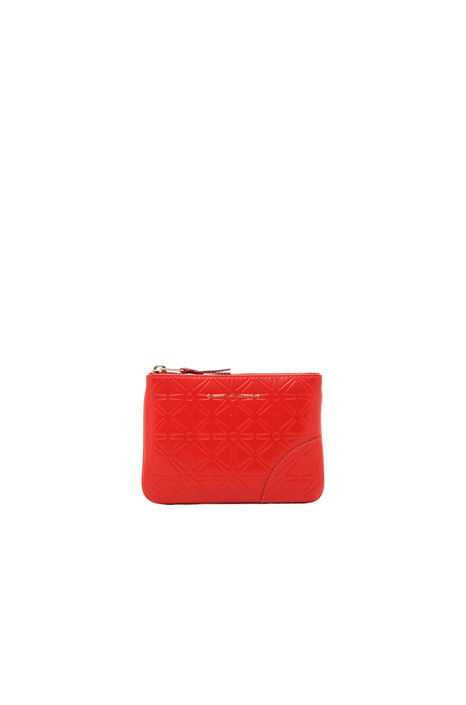 Comme Des GarÇons Star Embossed Small Pouch In Orange