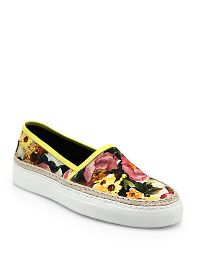Dolce & Gabbana Leather And Raffia-Trimmed Floral-Print Canvas Sneakers In White-Multi