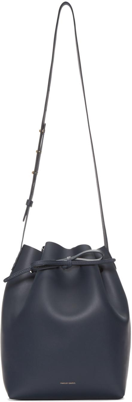 Mansur Gavriel Navy Leather Mini Mini Bucket Bag
