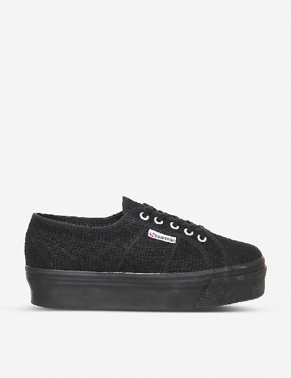 Superga 2790 Black Flatform 4cm Sneakers