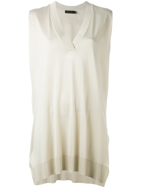 Calvin Klein Collection Sleeveless V-neck Sweater In 277