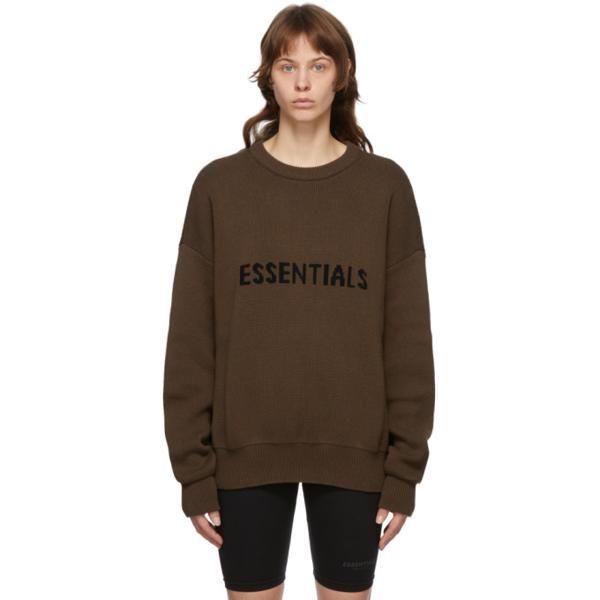 Essentials Ssense Exclusive Brown Logo Sweater In Rain Drum