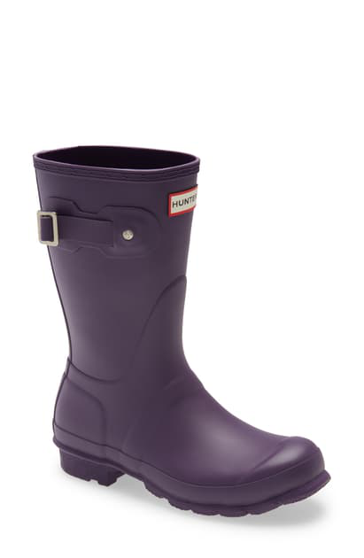 Hunter Original Short Waterproof Rain Boot In Cavendish Blue/ Blue
