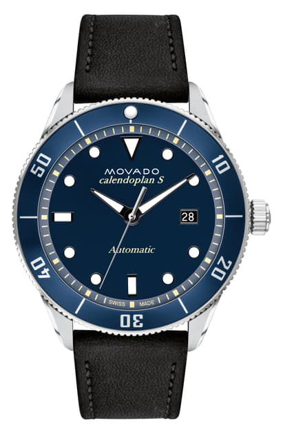 Movado Heritage Automatic Leather Strap Watch, 43mm In Black/ Blue/ Gunmetal
