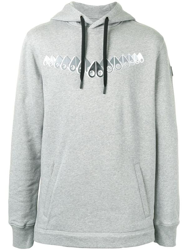 Moose Knuckles Logo-print Drawstring Hoodie In Grey
