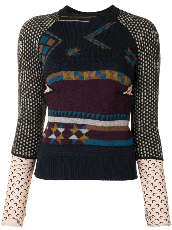 Marine Serre Panelled Long-sleeve Top In Multicolour