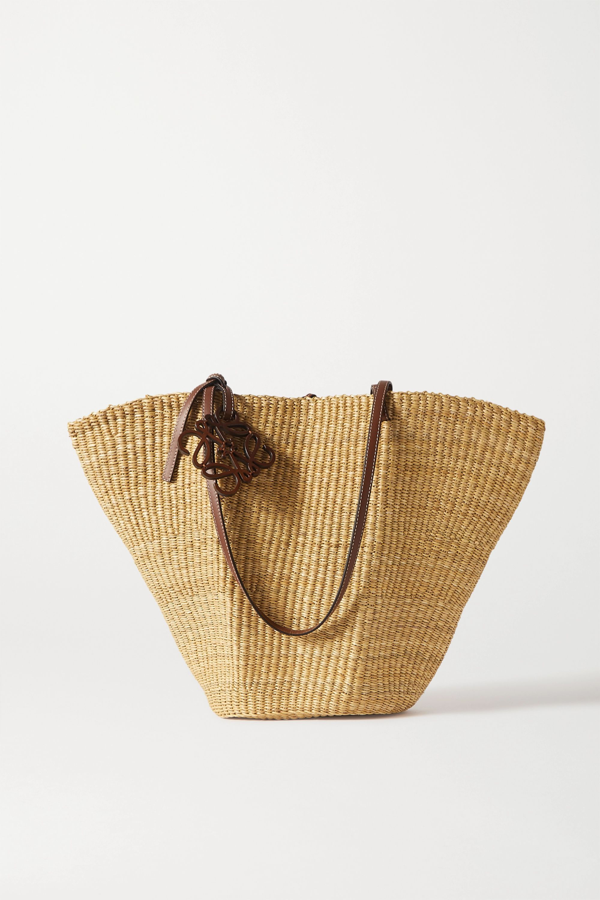 Loewe Shell Leather-trimmed Woven Raffia Tote In Tan