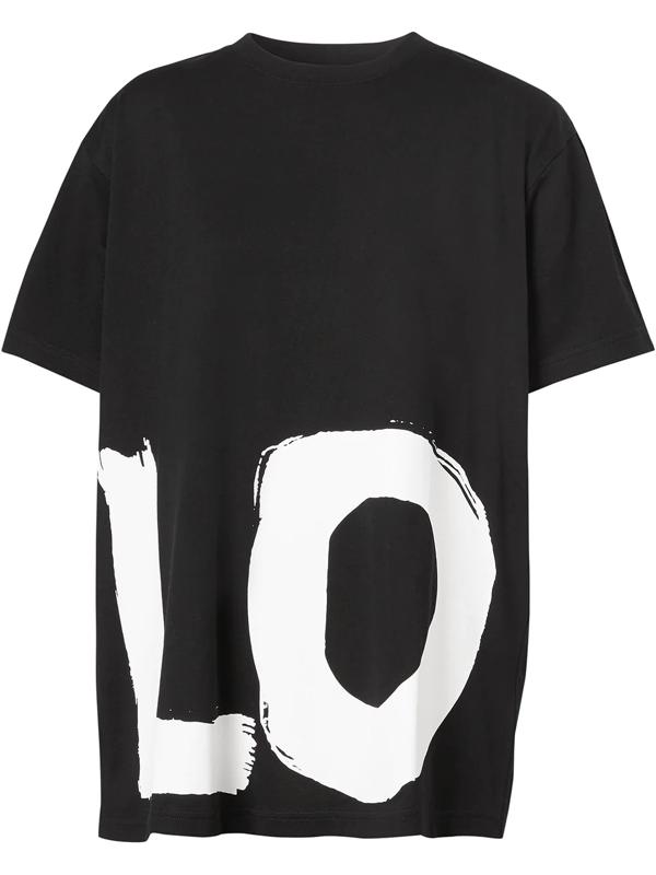 Burberry Love Print Cotton Oversized T-shirt Carrick Black