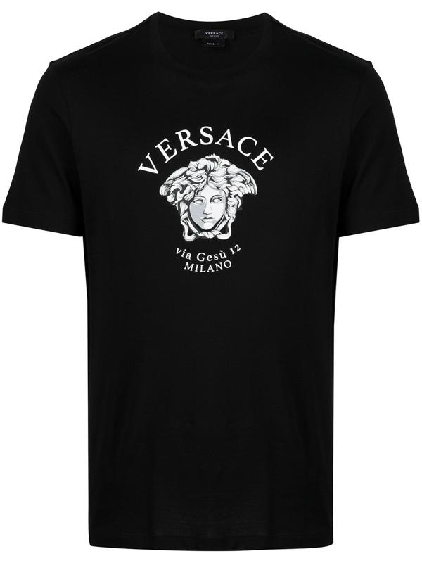 Versace Logo Cotton T-shirt In Black