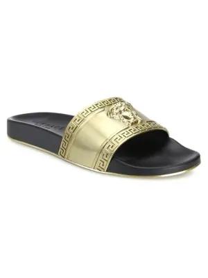 Versace Medusa Metallic Pool Slides In Gold Black