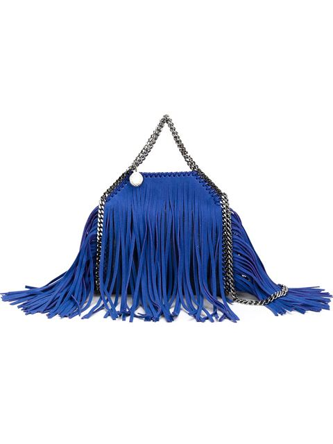 Stella Mccartney 'falabella' Tiny Fringe Two-way Chain Tote In Llue