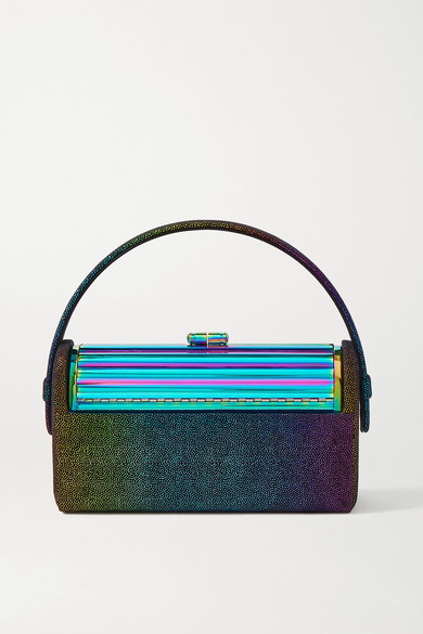 Bienen-davis Régine Metallic Suede And Iridescent Brass Tote In Blue