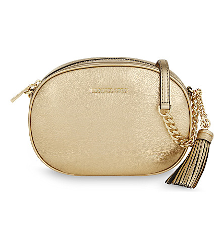 a6c072bba83c Michael Michael Kors Ginny Medium Metallic Leather Cross-Body Bag In Pale  Gold