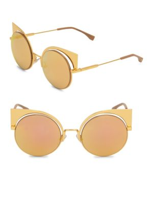 f5bc01a8ed8 Fendi 53Mm Mirrored Cat S-Eye Sunglasses In Gold