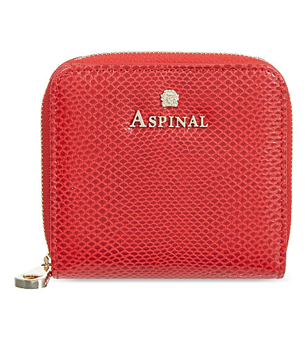 Aspinal Of London Mini Continental Lizard-embossed Leather Coin Purse In Berry