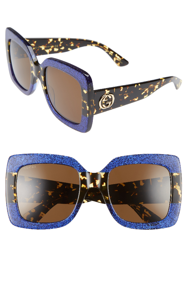 a8d12cd10f0f3 Gucci Glittered Gradient Oversized Square Sunglasses