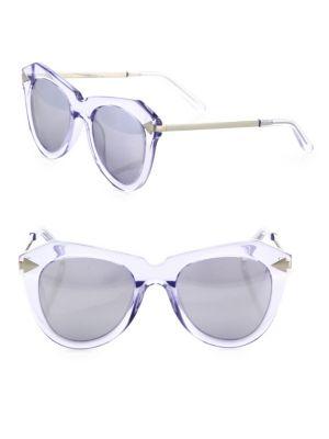f6170fed5f74 Karen Walker One Star 51Mm Mirrored Cat Eye Sunglasses In Silver ...