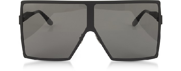 1543fd68d7c43 Saint Laurent New Wave 182 Matte Black Metal Betty Sunglasses In Black Grey