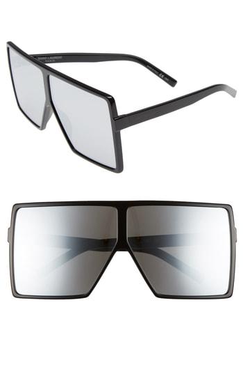 27242f56e1e1 Saint Laurent Sl 183 Betty 68Mm Oversize Mirrored Shield Sunglasses In  Black  Silver