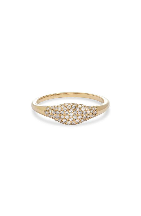Stone And Strand Diamond Mini Signet Ring In Yellow Gold
