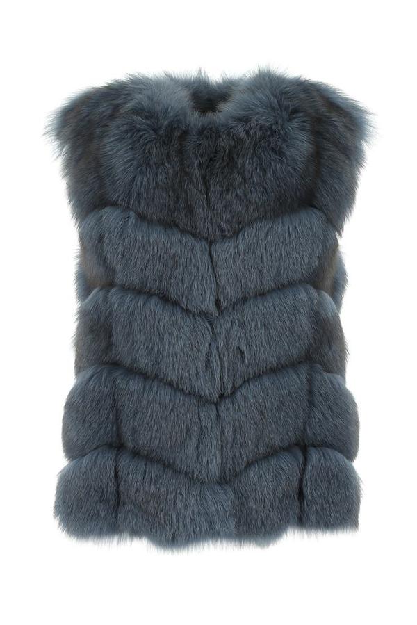 Yves Salomon Sleeveless Fox Gilet In Blue