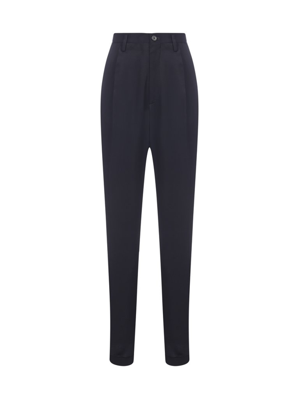 Maison Margiela High Rise Tailored Trousers In Navy