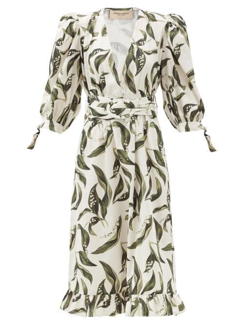Adriana Degreas Floral-print Plunge-neck Cotton Midi Dress In Cream Print