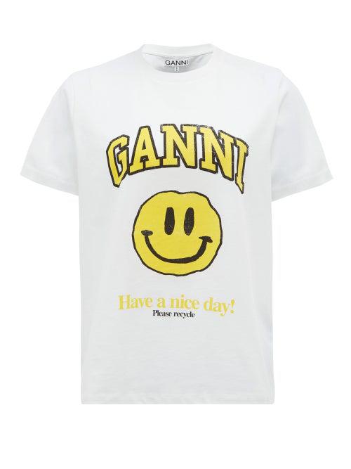 Ganni Smiling Face-print Organic-cotton T-shirt In White Multi