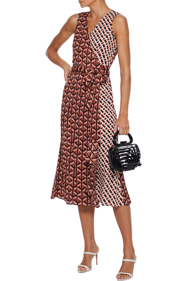 Diane Von Furstenberg Moira Paneled Printed Stretch-silk Wrap Dress In Multicolor