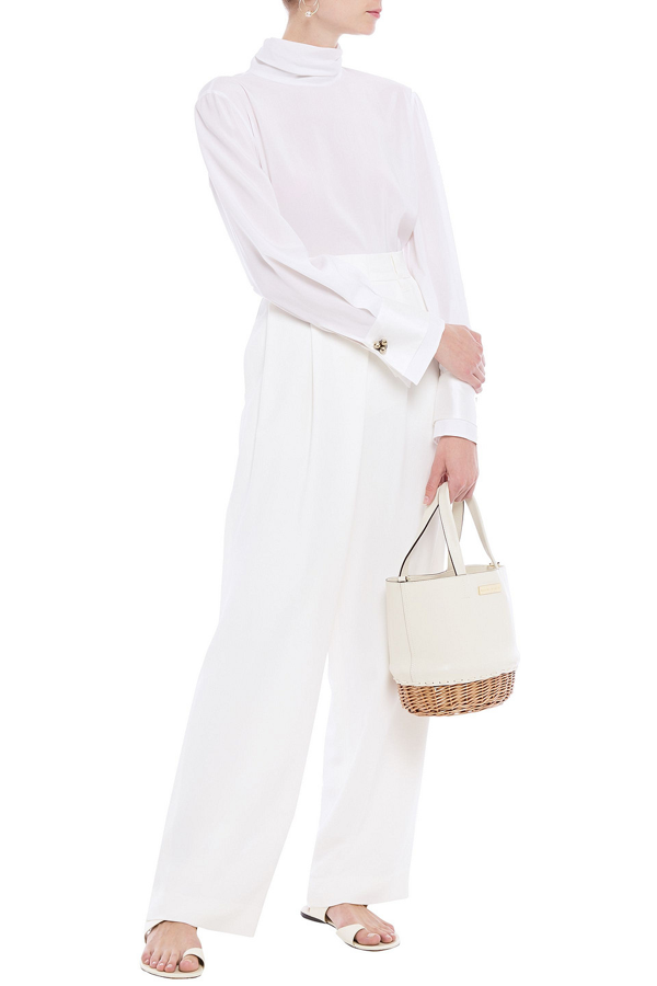 Brunello Cucinelli Pleated Crepe De Chine Wide-leg Pants In Ivory