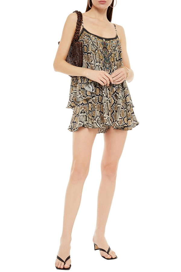 Camilla Layered Crystal-embellished Snake-print Silk Crepe De Chine Playsuit In Animal Print
