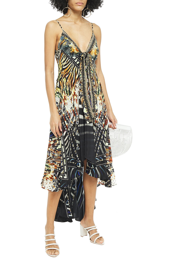 Camilla Asymmetric Crystal-embellished Printed Silk Crepe De Chine Midi Dress In Animal Print