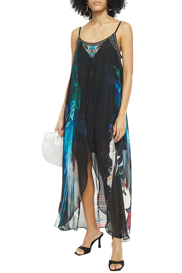 Camilla Layered Crystal-embellished Printed Chiffon And Silk Crepe De Chine Mini Dress In Black