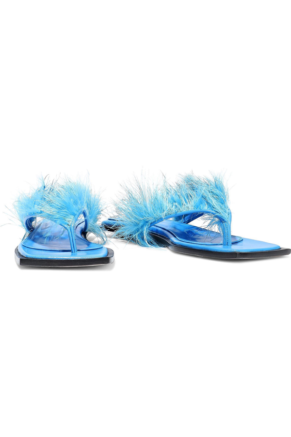 Helmut Lang Feather-embellished Leather Flip Flops In Bright Blue
