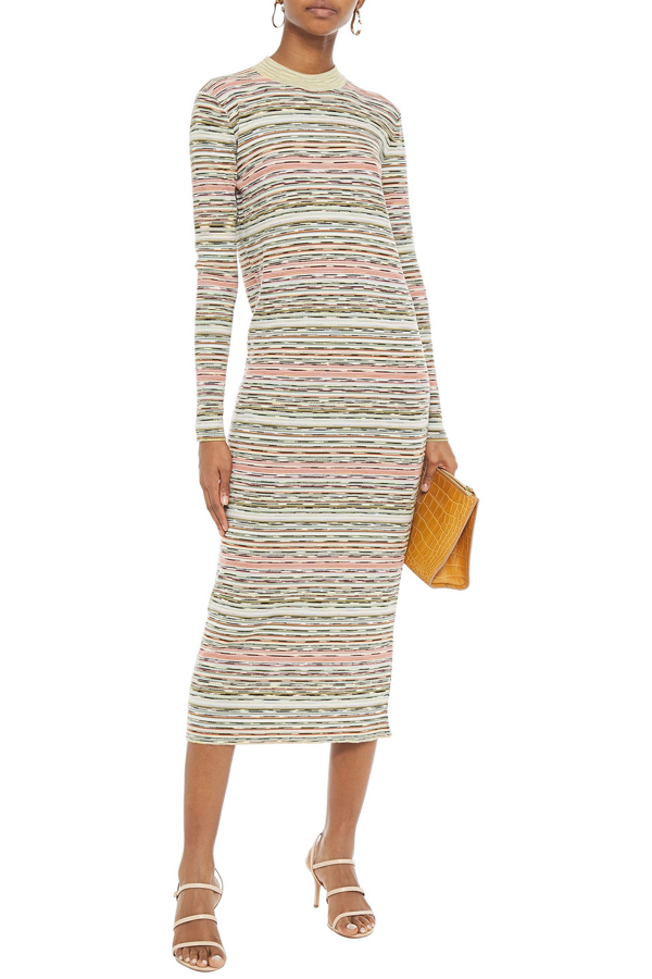 Missoni Marled Ribbed Wool Midi Dress In Light Green