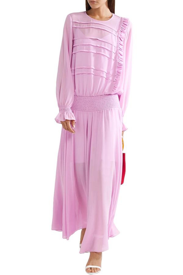 Preen Line Ruffled Shirred Crepe De Chine Maxi Dress In Lavender