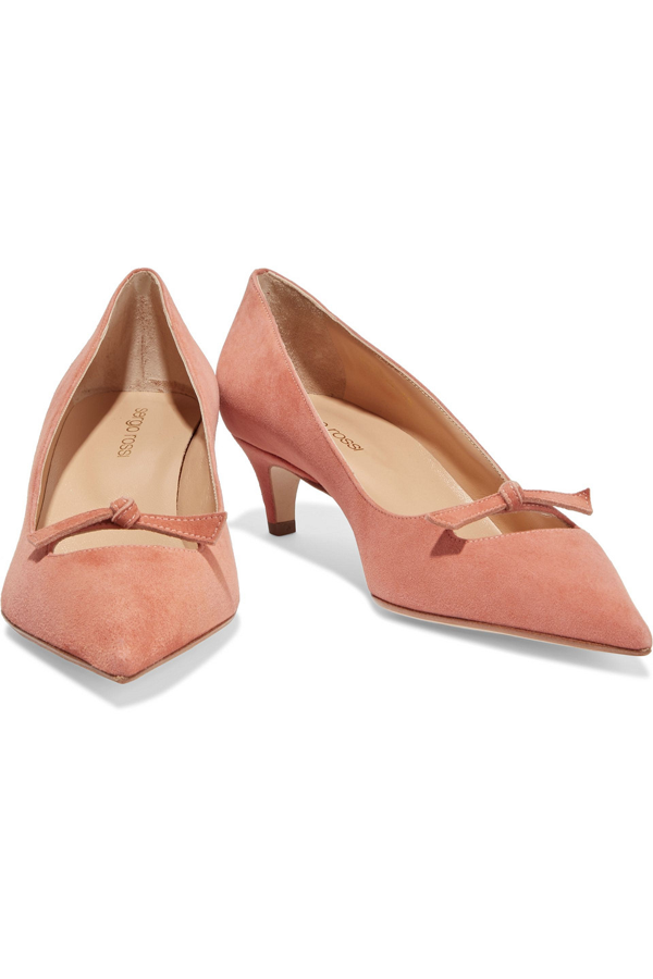 Sergio Rossi Isobel 45 Knotted Suede Pumps In Antique Rose